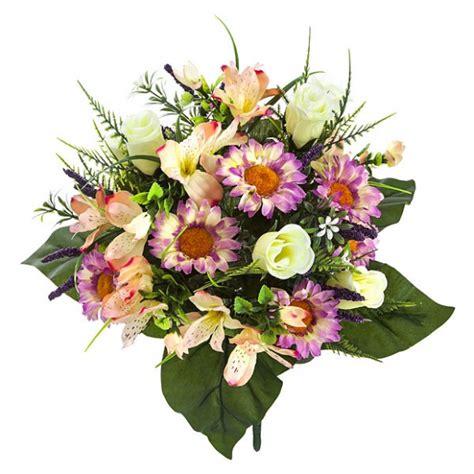 Ramo flores artificiales malva margaritas rosas ...