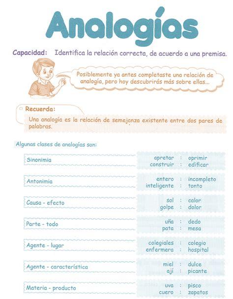 Razonamiento Verbal Tercer Grado Primaria Analogías ...