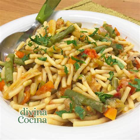 Receta de Fideos con Verduras ----- Divina Cocina