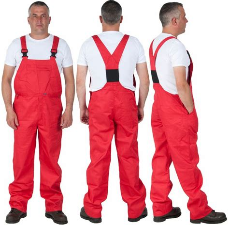 Red work dungarees for men. Basic bib and brace £35 from ...