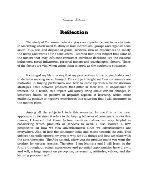 REFLECTION ON CONSUMER BEHAVIOR, METHODS OF RESEARCH AND ...
