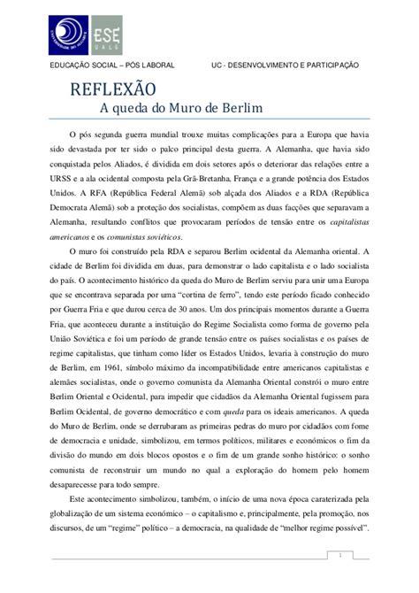 Reflexão individual - A queda do muro Berlim