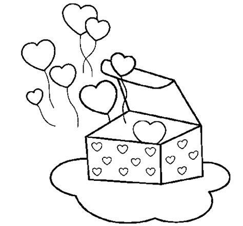 Regalo con corazones para san valentin para coloreary ...