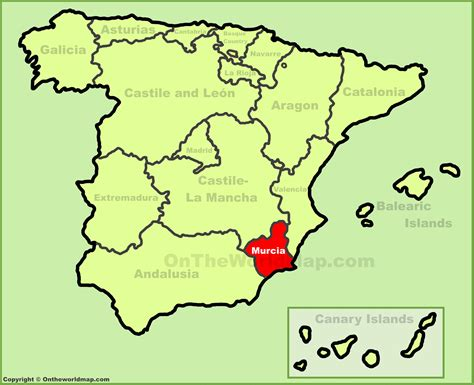 Region of Murcia location on the Spain map