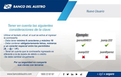 Registro de Nuevo Usuario en Banca Virtual   Banco del Austro