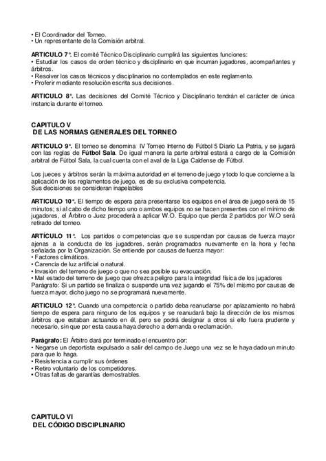 Reglamento general iv torneo interno futbol 5