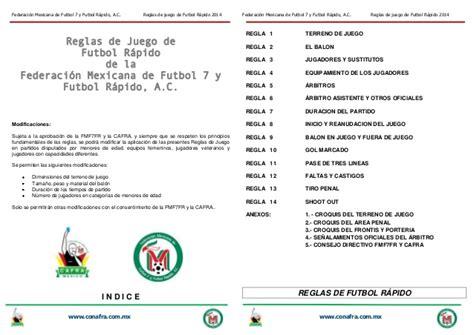 Reglas de Juego de Futbol Rapido 2014