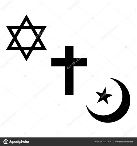 Religious signs. Christian, Jewish and Muslim symbols ...