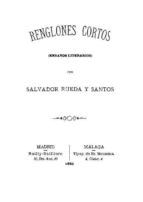 Renglones cortos :  ensayos literarios  / por Salvador ...