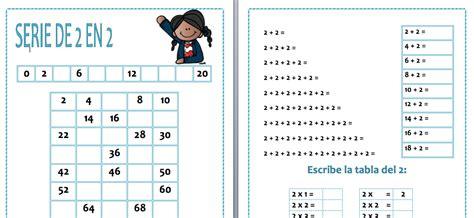 Repasamos las tablas de multiplicar la tabla del 2 ...