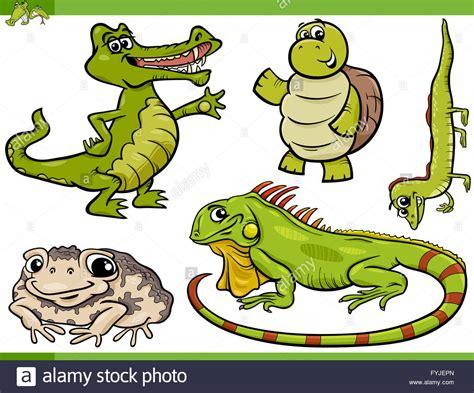 reptiles and amphibians cartoon set Stock Photo, Royalty ...