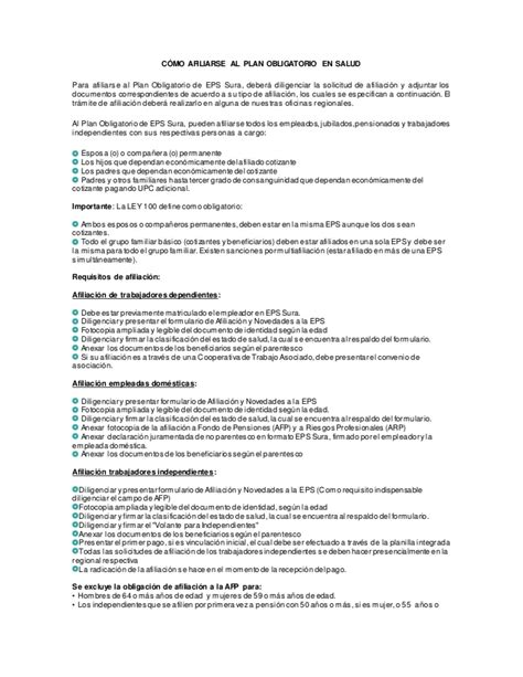 requisitos de afiliacion a una eps c 243 mo afiliarse al ...