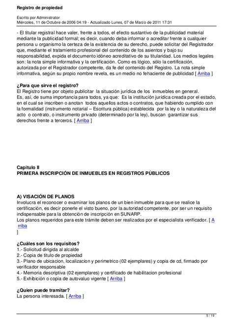 Requisitos de inscripcion de propiedad sunarp