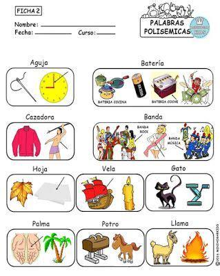 Resultado de imagen de ejemplos de palabras polisemicas ...
