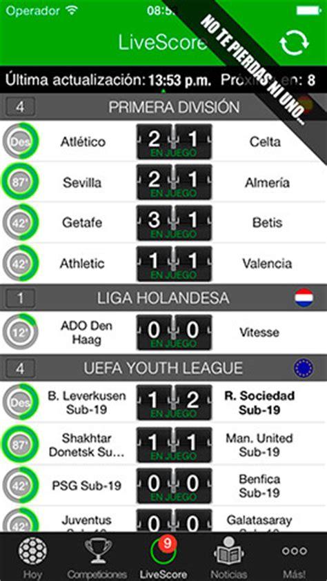 Resultados de Fútbol en iPhone