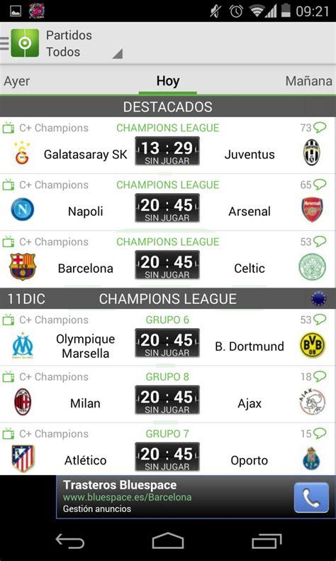Resultados de Fútbol para Android   Descargar