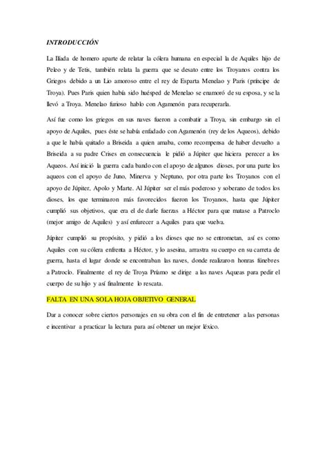 Resumen del  Libro La Iliada