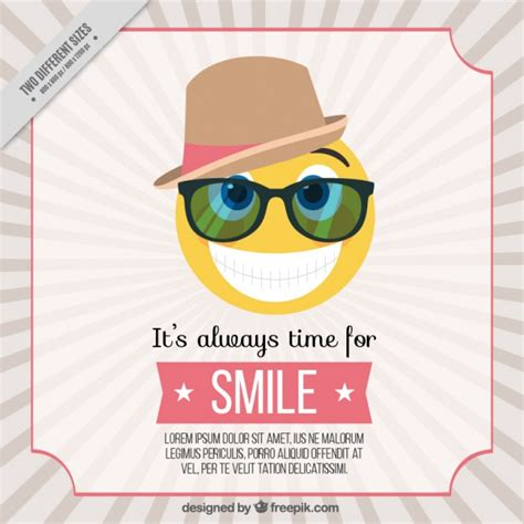 Retro emoticon background with hat and glasses Vector ...