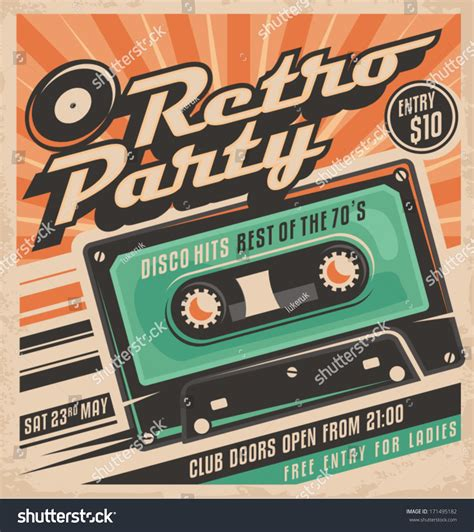 Retro Party Poster Design. Disco Music Event At Night Club ...