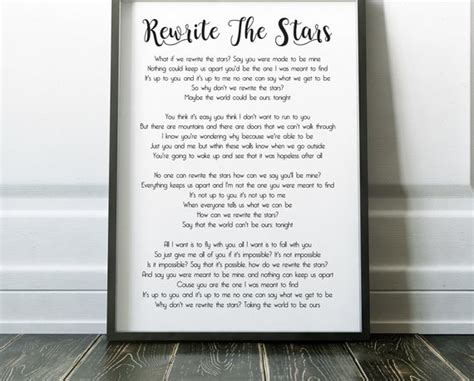 Rewrite The Stars Song Lyrics Print The Greatest Showman ...