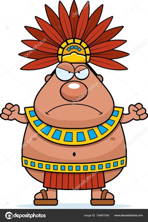 Rey de Azteca de dibujos animados enojado — Vector de ...