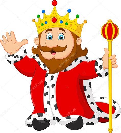 Rey de dibujos animados sosteniendo un cetro de oro ...