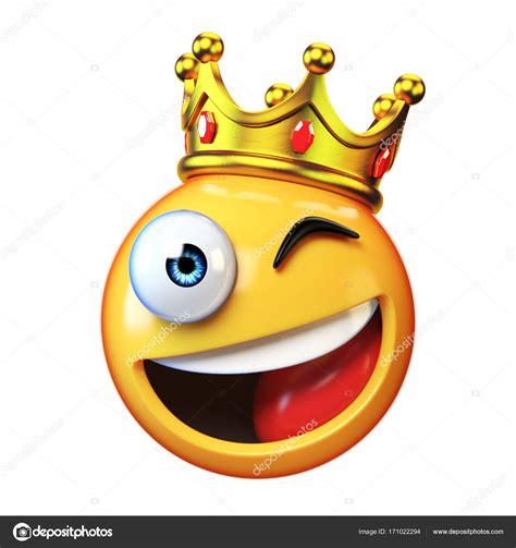 Rey emoji aislado sobre fondo blanco, emoticon usando ...
