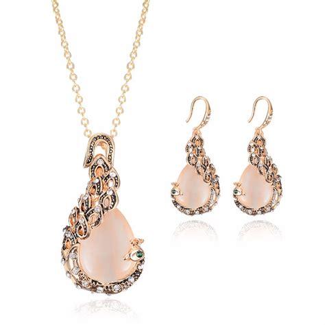 Rhinestone Opal Peacock Pendant Necklace Earrings Women ...