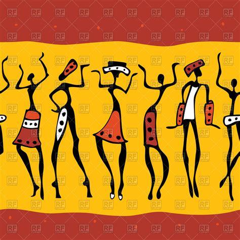 Rock paintings of figures of african dancers   seamless ...
