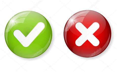 Rojo y verde consultar marca icono botón Vector ...