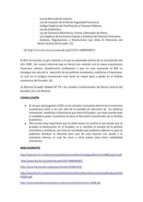Rol del banco central del ecuador