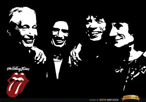 Rolling Stones band black and white wallpaper   Vector ...