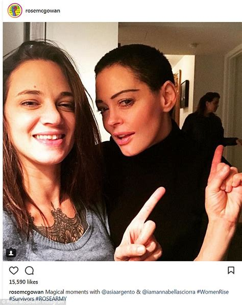 Rose McGowan poses with Asia Argento and Annabella Sciorra ...