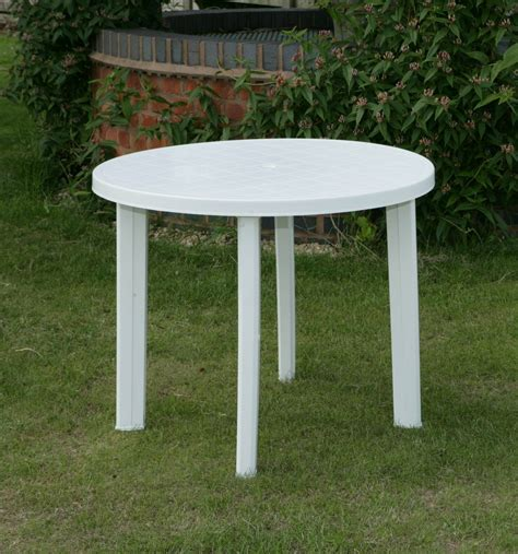 Round Garden Table Only In White Resin Patio Furniture ...