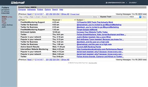 Roundcube WebMail, Horde WebMail, SquirrelMail WebMail ...