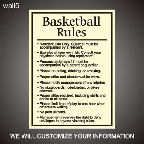 Rules of Basketball | Basketball Rules 24in x 36in ...