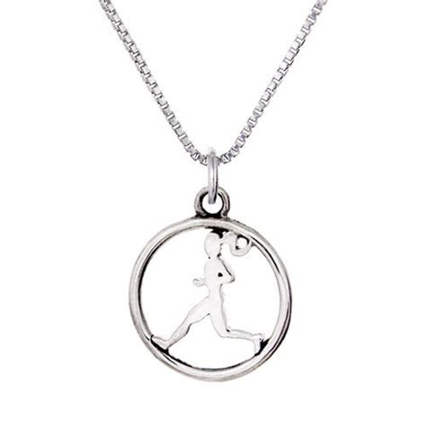 Runner Girl Circle Charm Necklace Sterling Silver