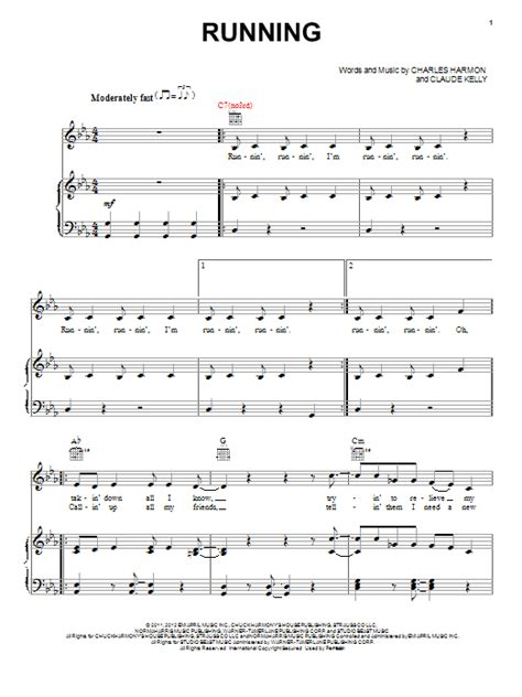Running/Runnin  sheet music by Claude Kelly  Piano, Vocal ...