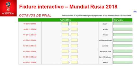 Rusia 2018: Fixtures en Excel para seguir el Mundial de la ...
