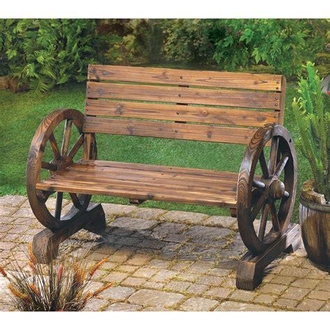 Rustic Wood Design Home Garden Wagon Wheel Bench Decor | eBay
