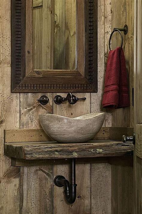 Rustic Wood Powder/Half Bath with Stone Vessel Sink ...