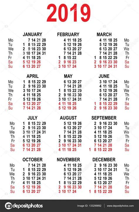 Šablona mřížka kalendáře 2019 — Stock Vektor © orensila ...