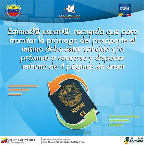 Saime publica pasos para solicitar prórroga del pasaporte