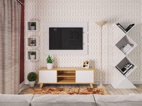 Sala de estar pequena com papel de parede e nichos | Leroy ...