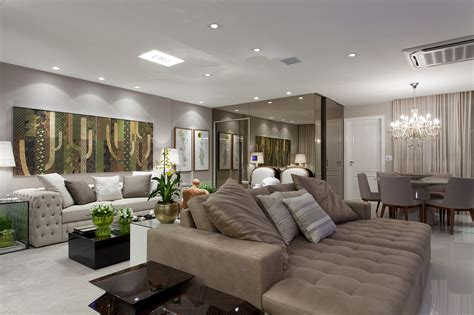 Salas de estar, jantar, tv e varanda integradas ...