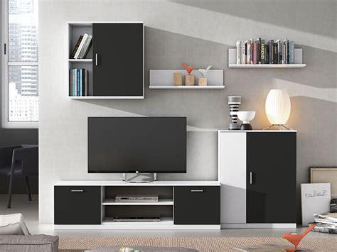 salón comedor 220 cm color Blanco combinado negro