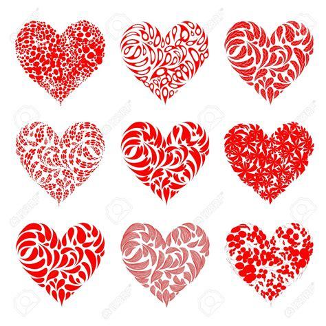 San Valentín Corazones Rojos Para El Diseño Ilustraciones ...