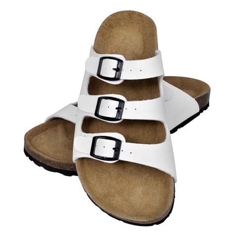 Sandalias blancas unisex de corcho 3 correas de ajuste ...
