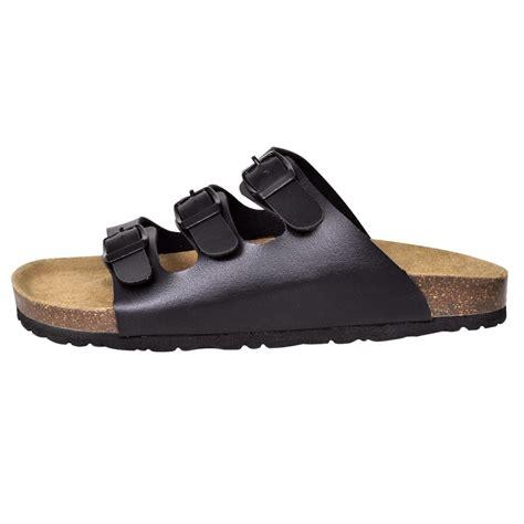 Sandalias negras unisex de corcho 3 correas de ajuste ...
