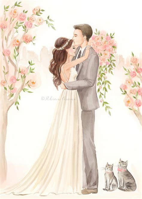 Save the Date Illustration   Wedding Portrait, Bride Groom ...